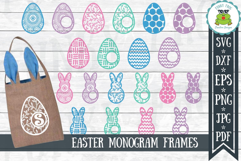 Easter Monogram Frame Bundle - Egg and Bunny SVG Cut Files example image 1