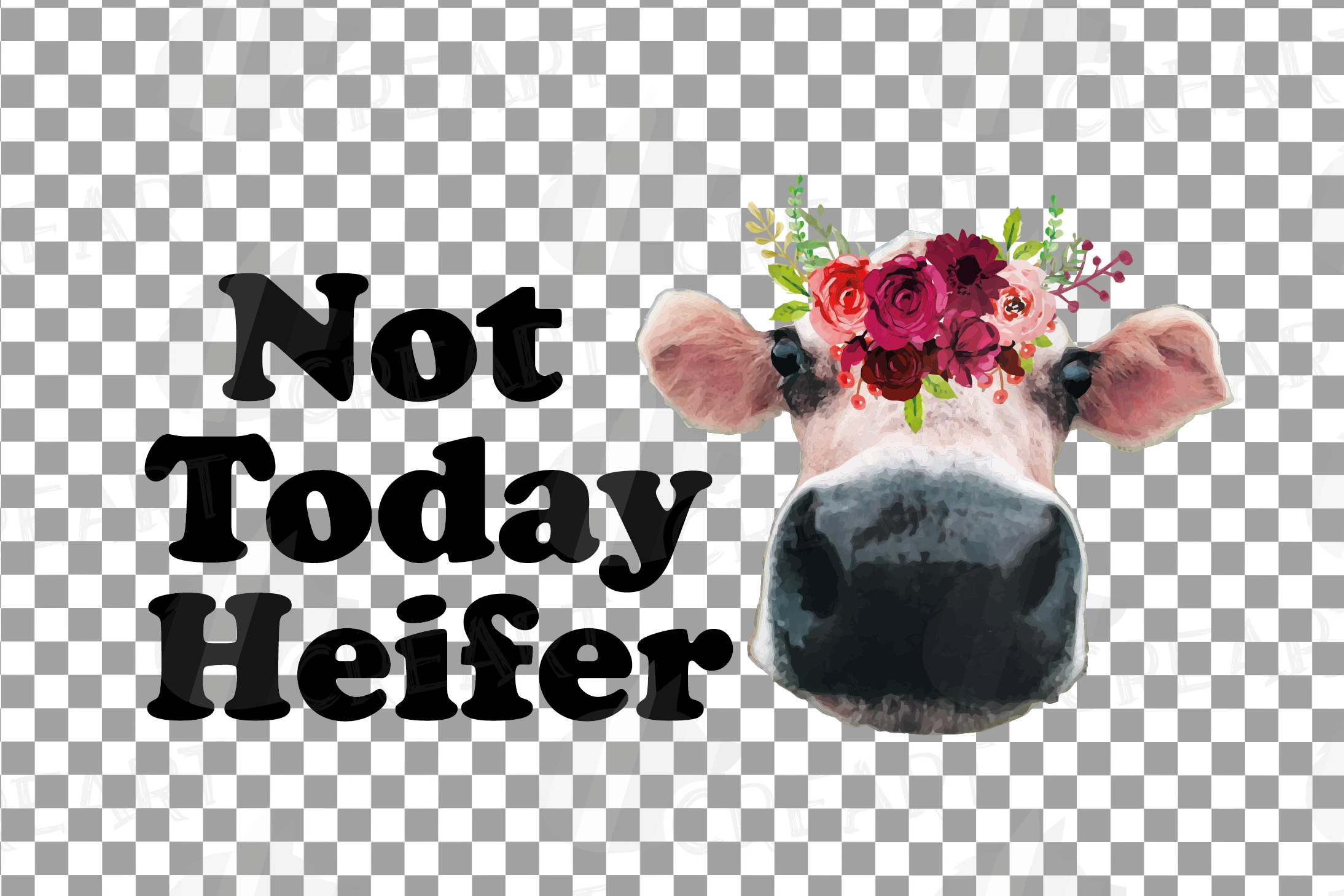 Not today Heifer printable floral burgundy decor, floral cow example image 14
