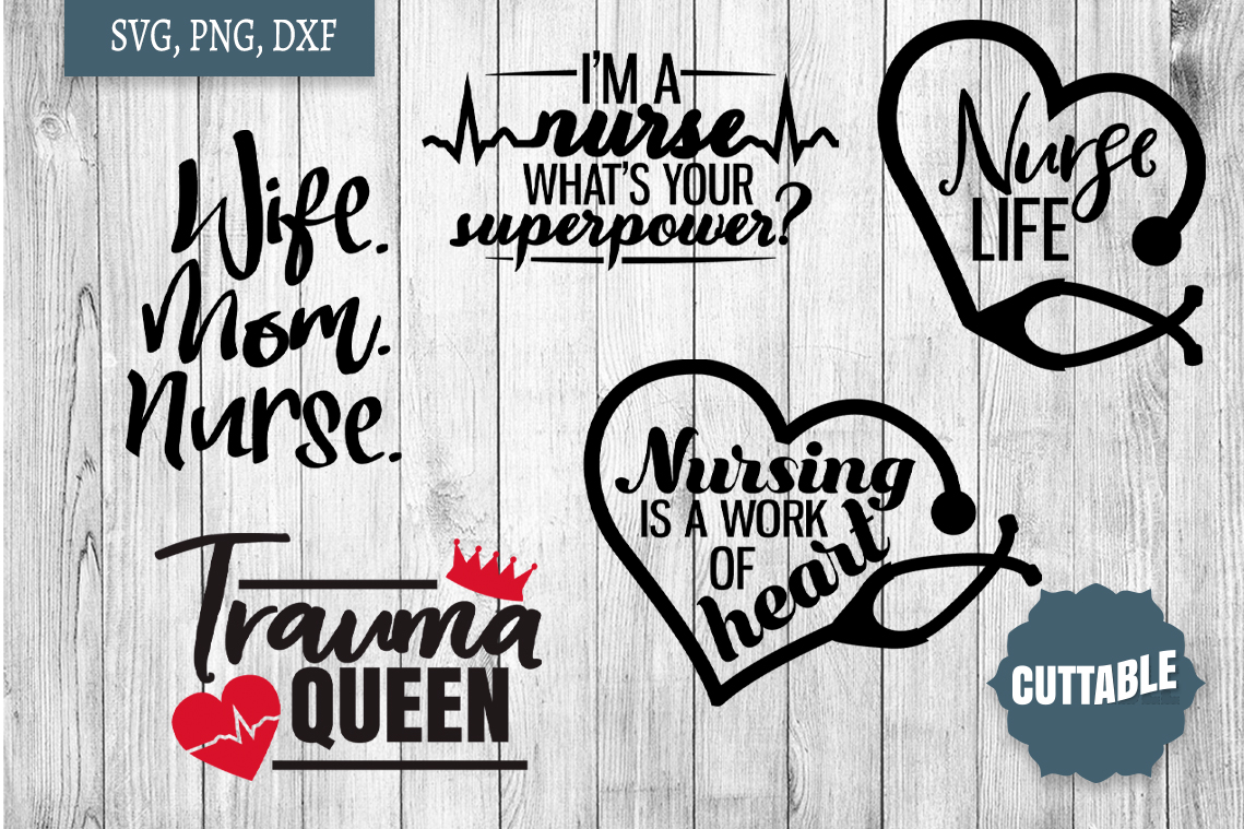 Nurse cut file bundle, nurse quote SVG bundles, Nursing svg example image 2