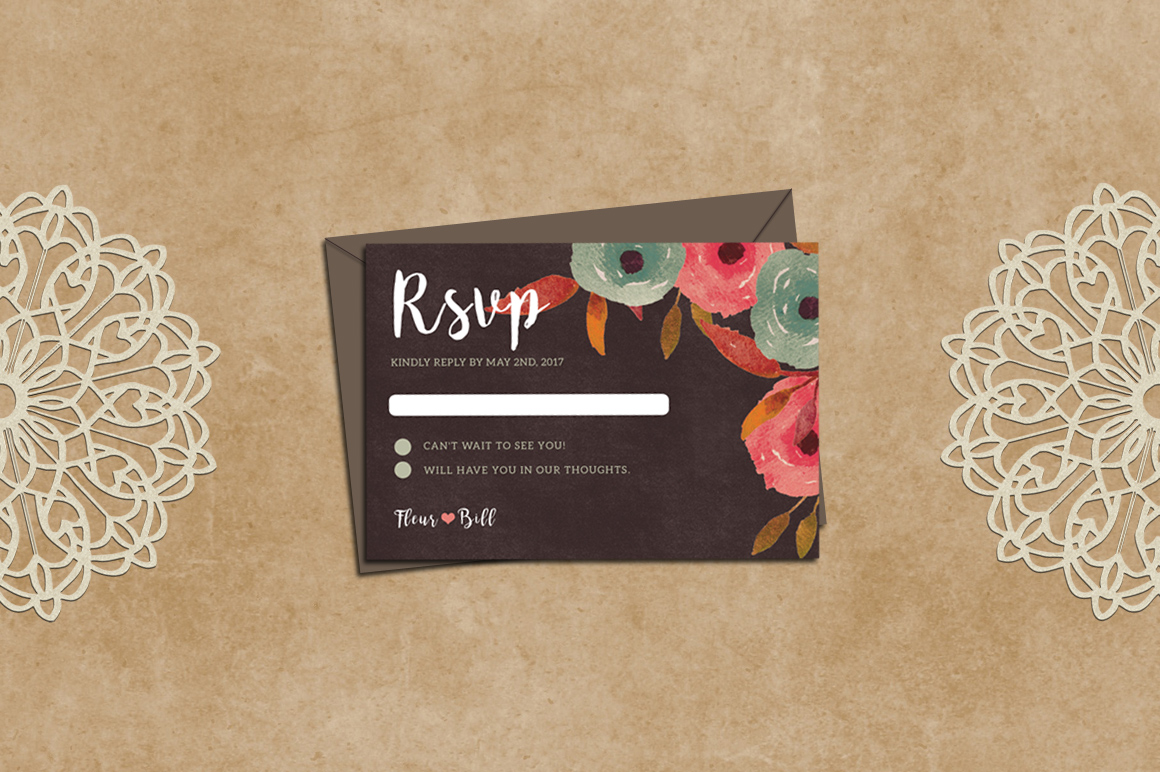 Rustic Wedding Invitation + RSVP example image 3