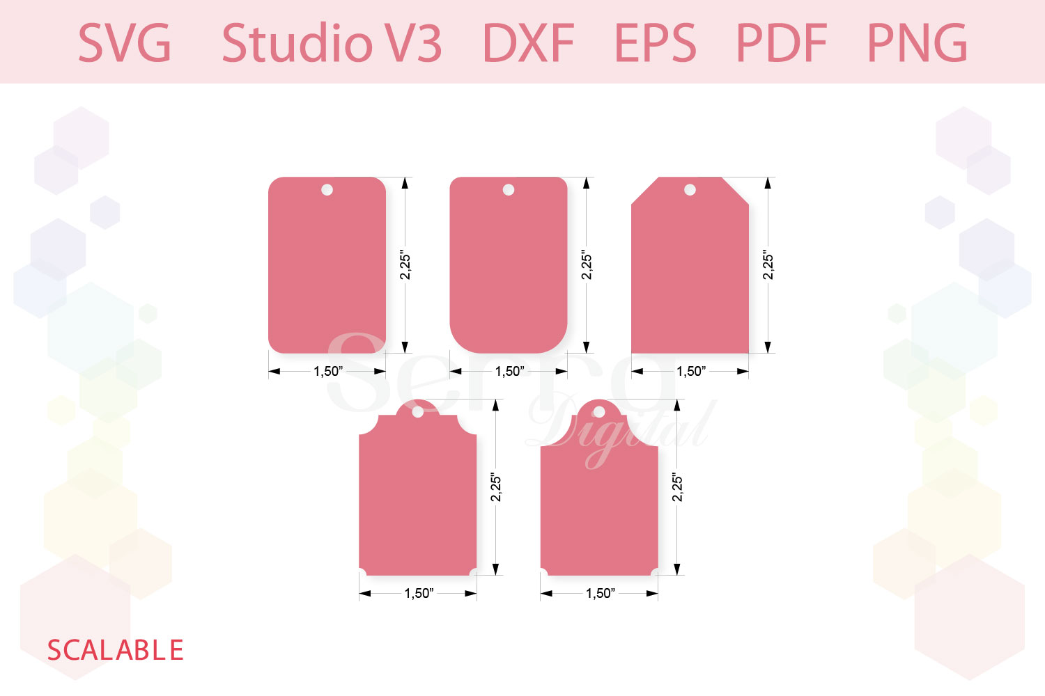 Gift Tag Shapes cut files SVG Silhouette Studio PDF PNG example image 3
