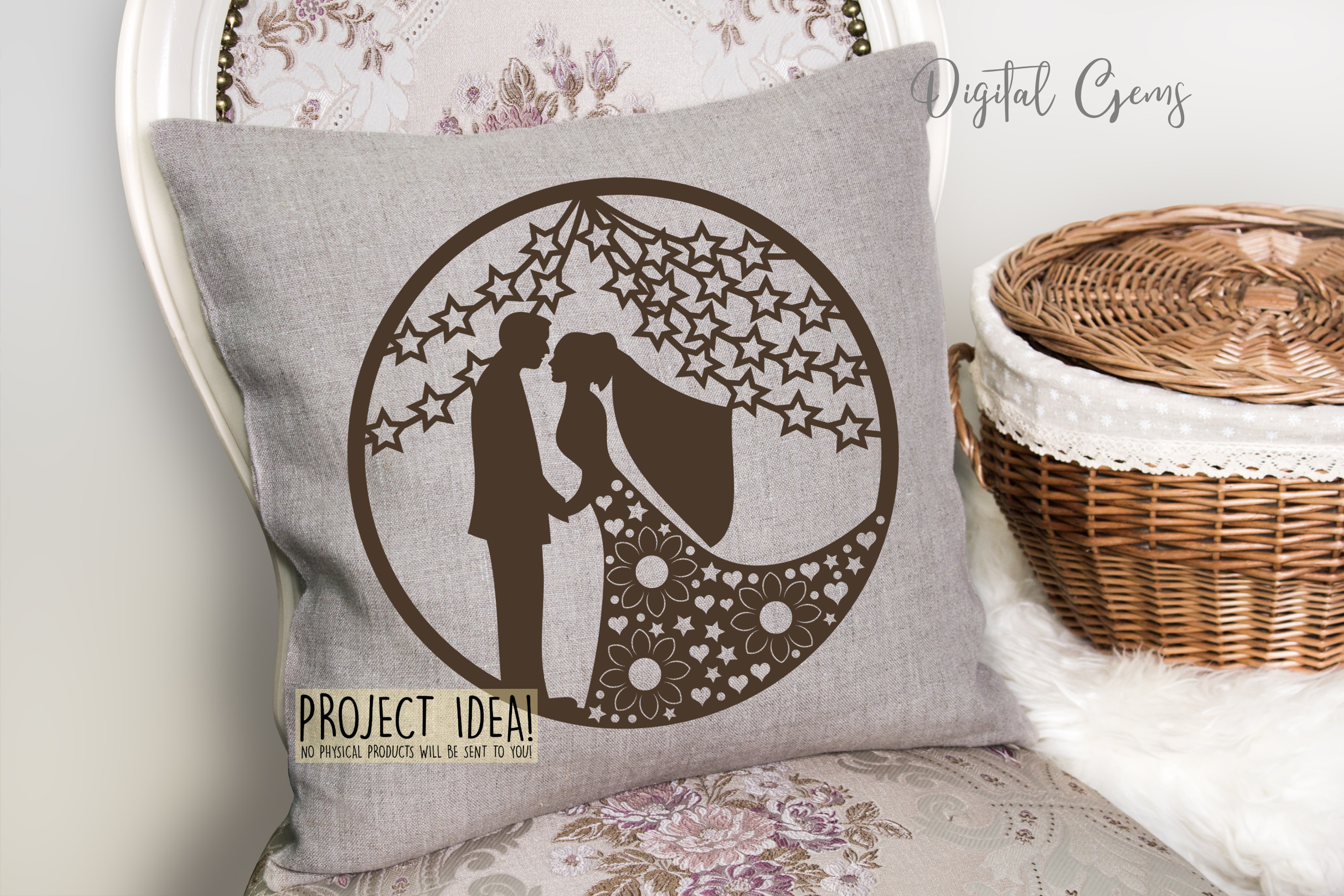 Wedding paper cut design. SVG / PNG / DXF / EPS files example image 5