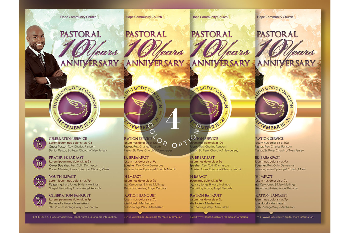 Clergy Anniversary Rack Card Template example image 4