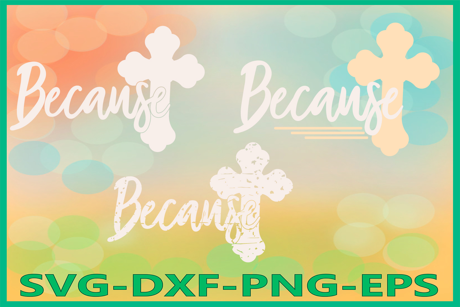 Because SVG Files, Cross Grunge, He is Risen, Spring Decor example image 1