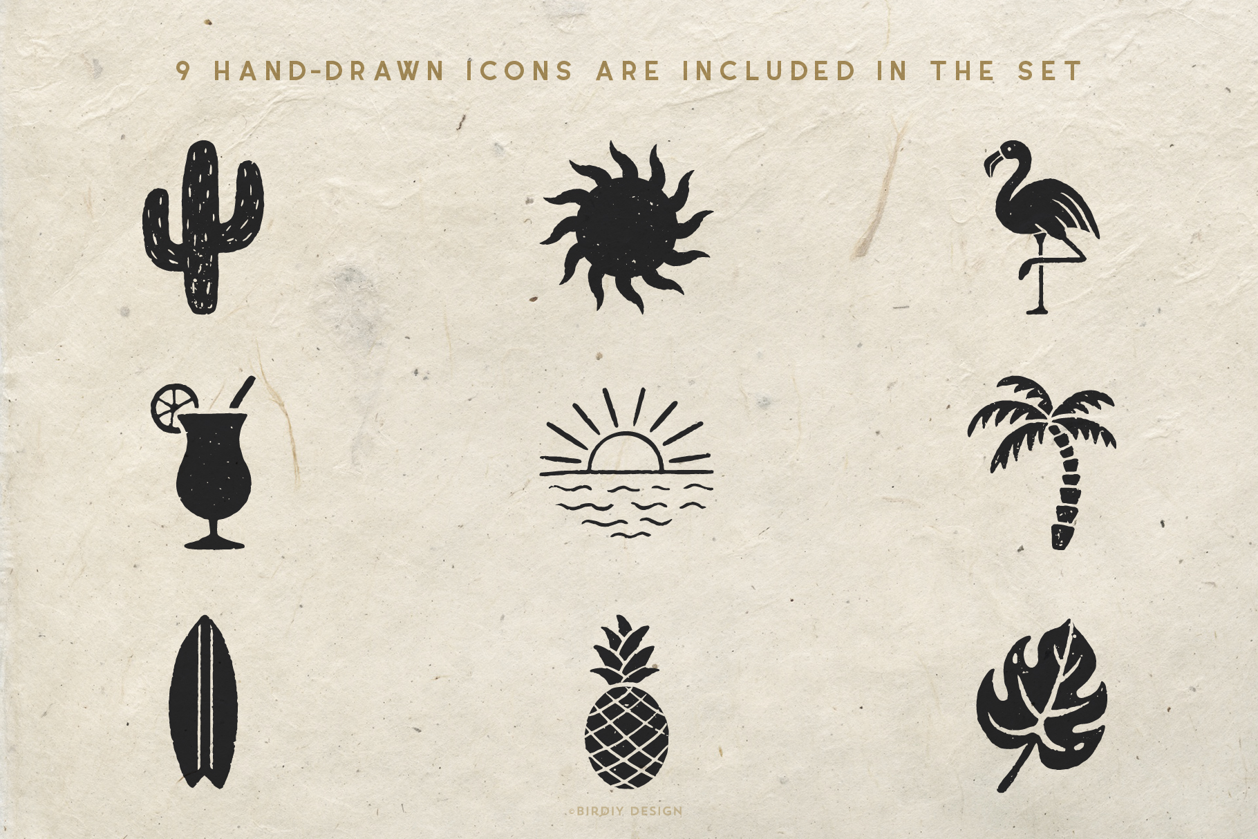 Summer Icons Hand Drawn Graphics Set example image 2