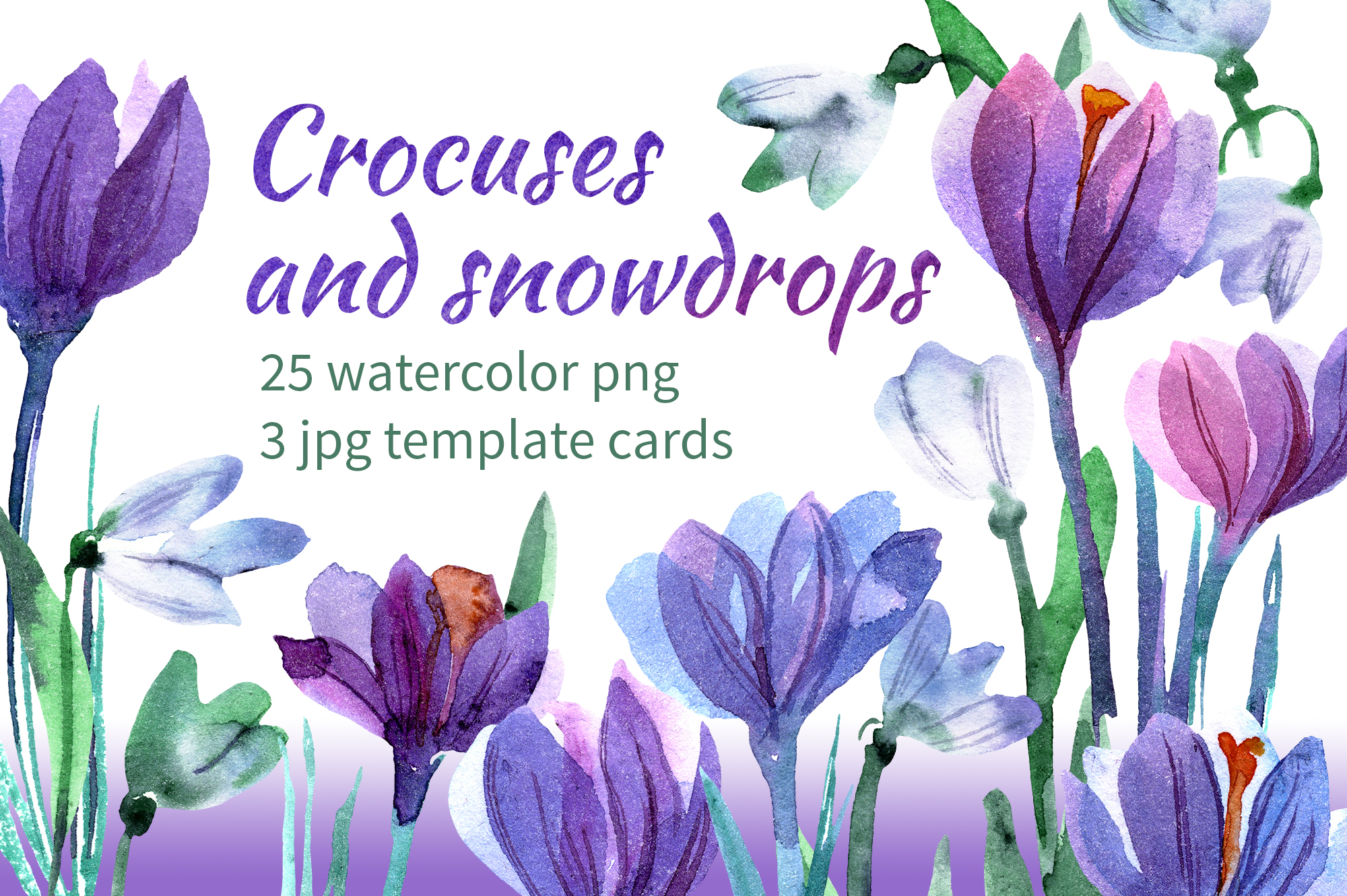 Watercolor crocuses and snowdrops example image 1