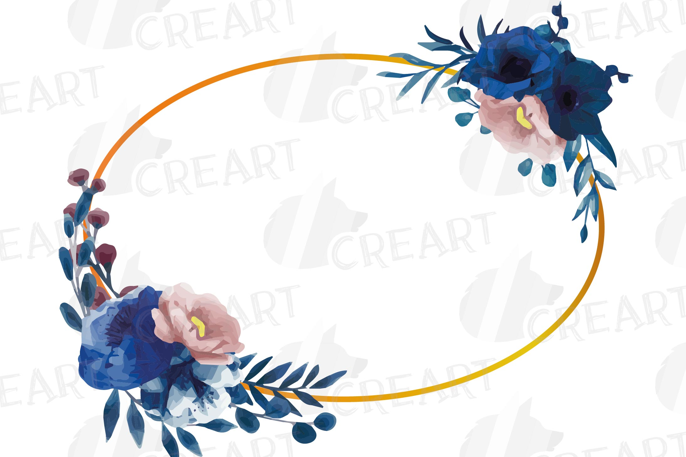 Watercolor elegant navy blue and blush floral borders vector example image 19