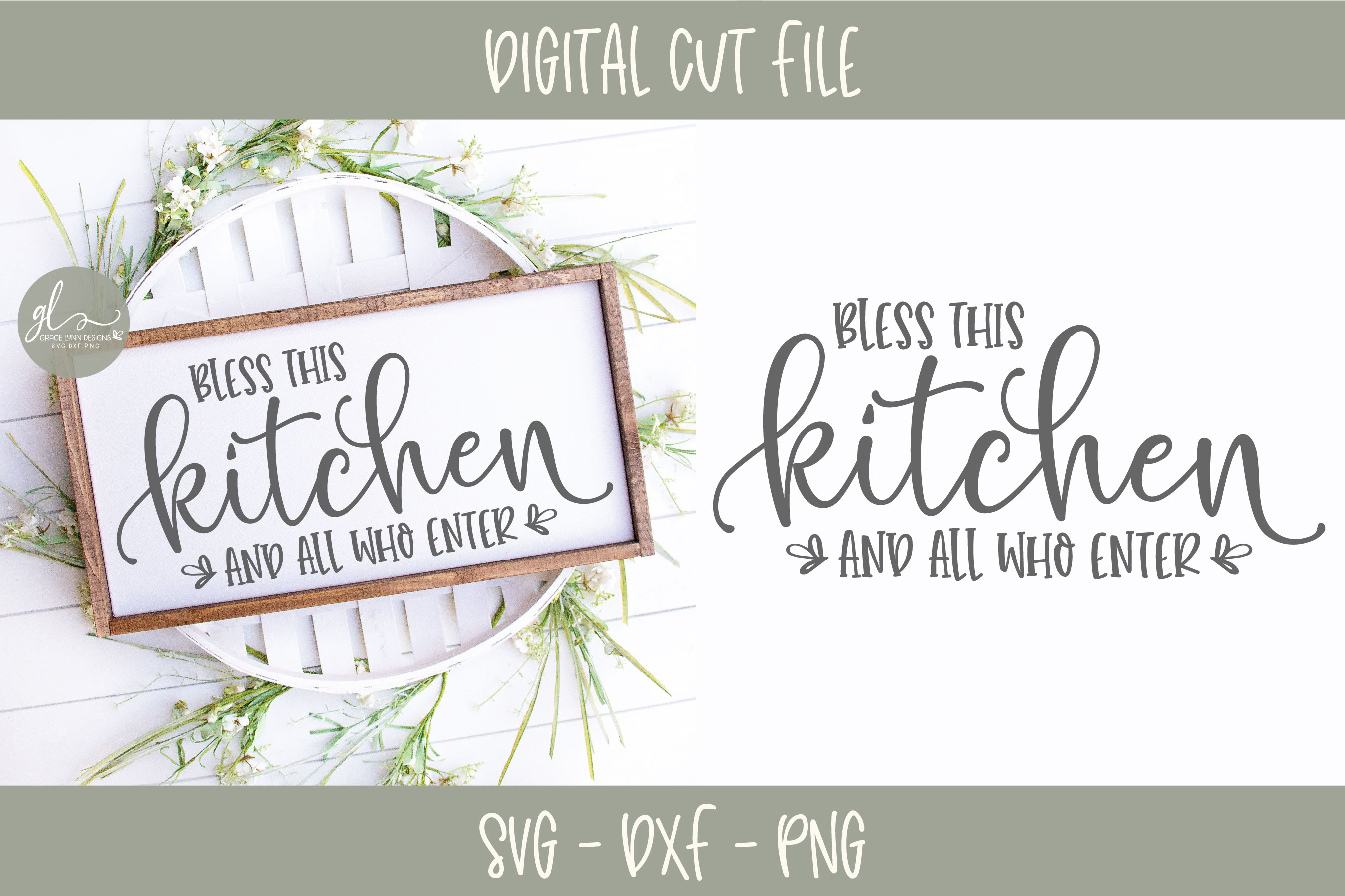 Bless This Kitchen And All Who Enter - Kitchen SVG Cut File example image 1