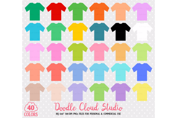 40 Colorful T-Shirt Clipart Cute Shirts PNG with Transparent Background for Personal & Commercial Use example image 1