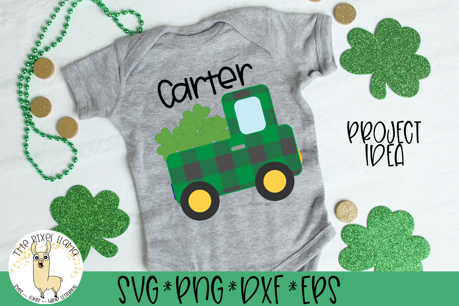 St Patrick's Lucky Plaid Truck SVG Cut File example image 1