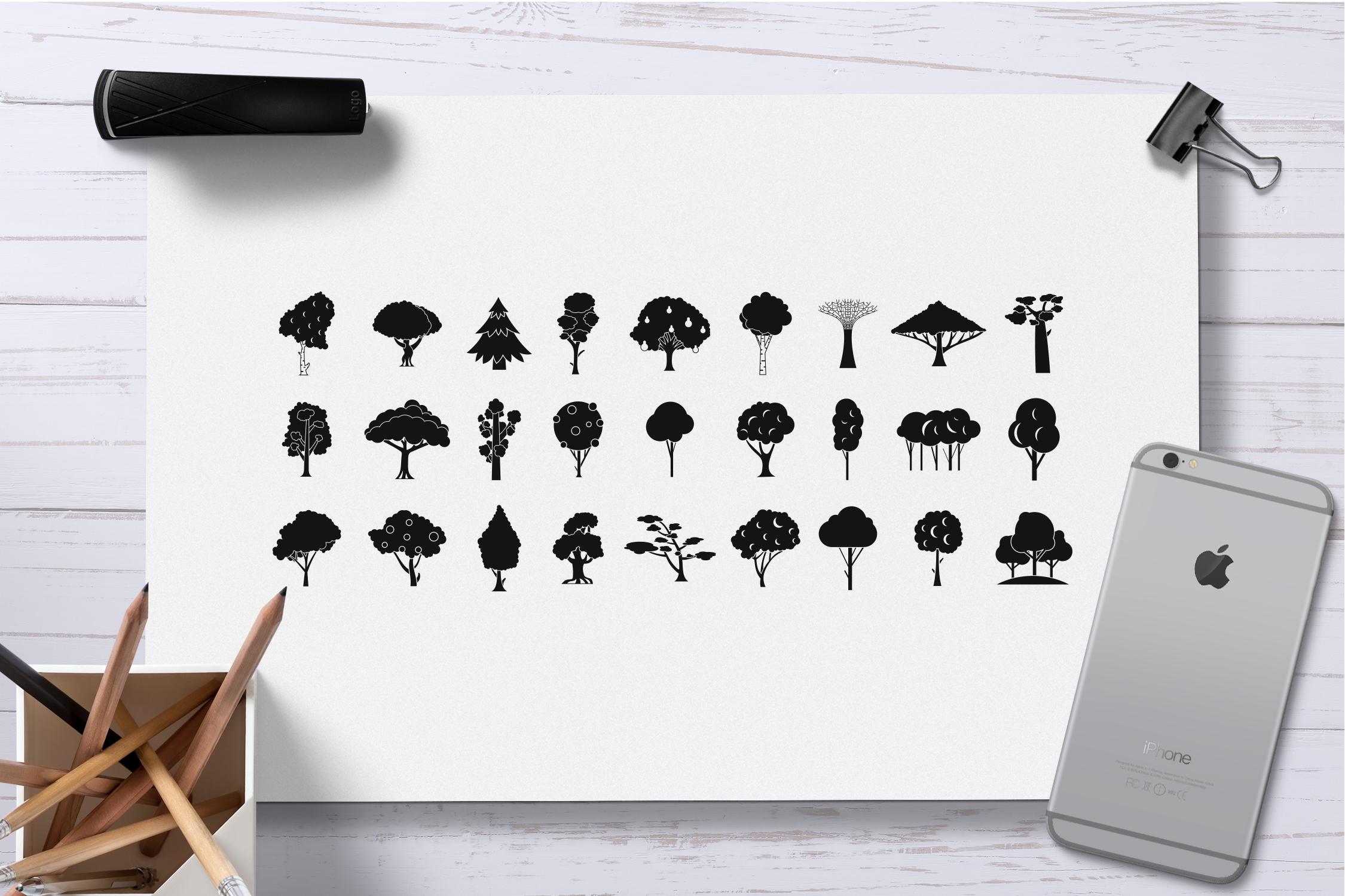 Tree icon set, simple style example image 2