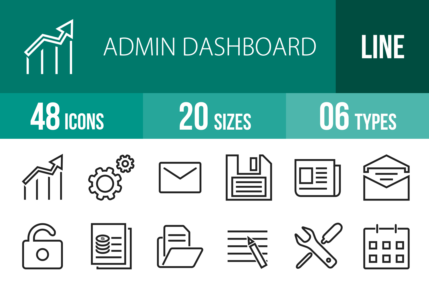 48 Admin Dashboard Line Icons example image 1