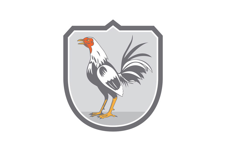 Cockerel Rooster Standing Shield Retro example image 1
