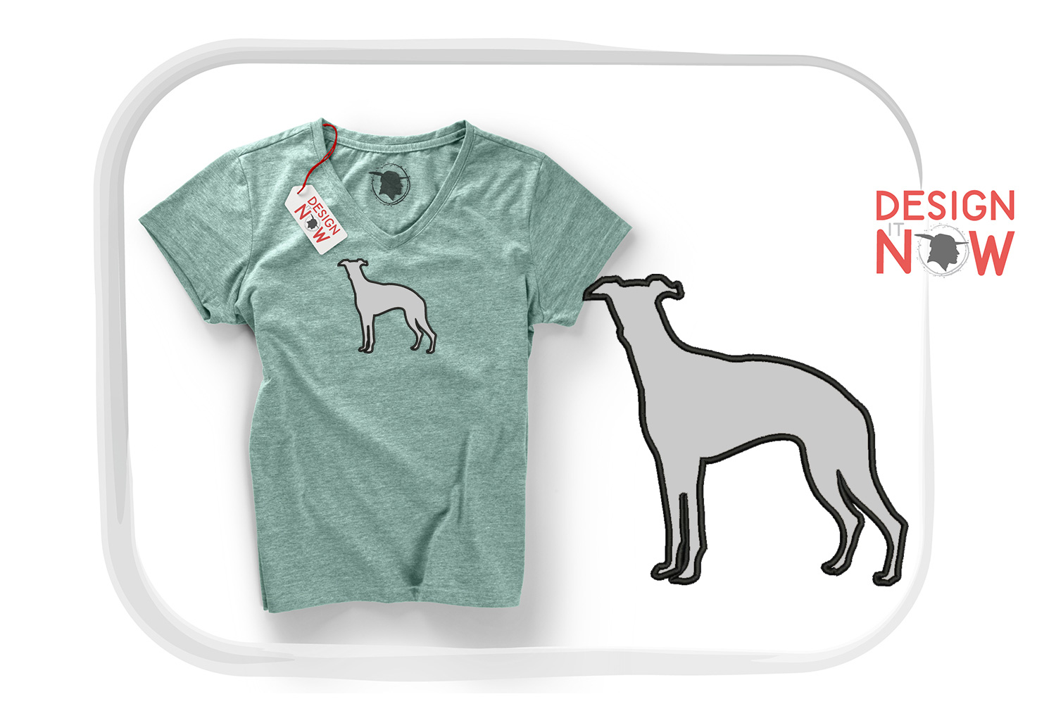 Whippet Dog Applique Design, Dog Embroidery Design example image 1