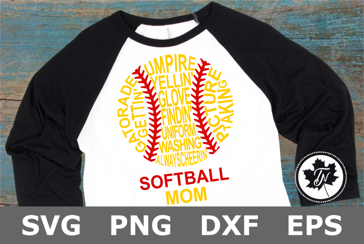 Softball Mom Words - A Sports SVG Cut File example image 1