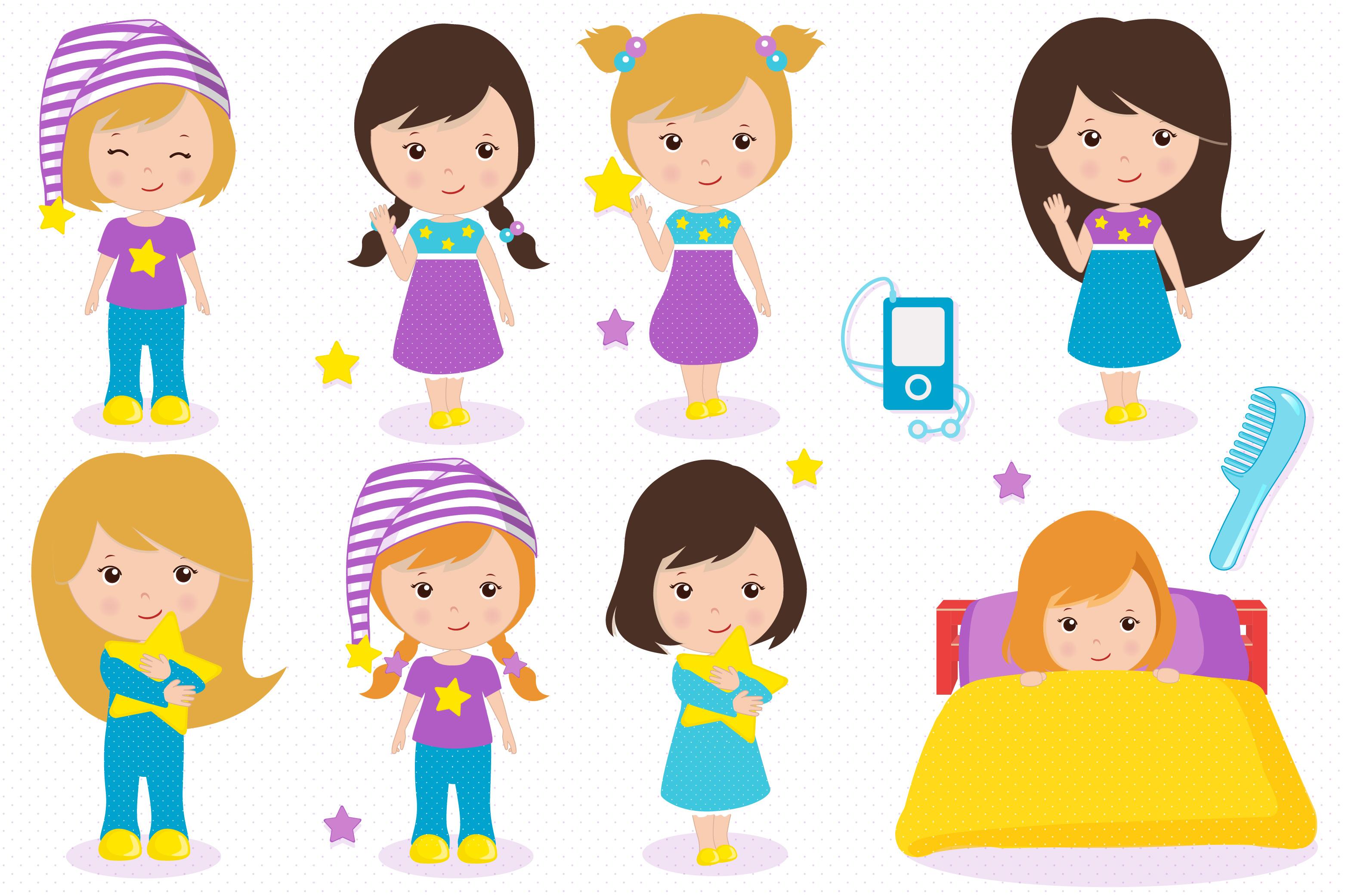 Sleepover graphics, Little girls clipart set example image 3