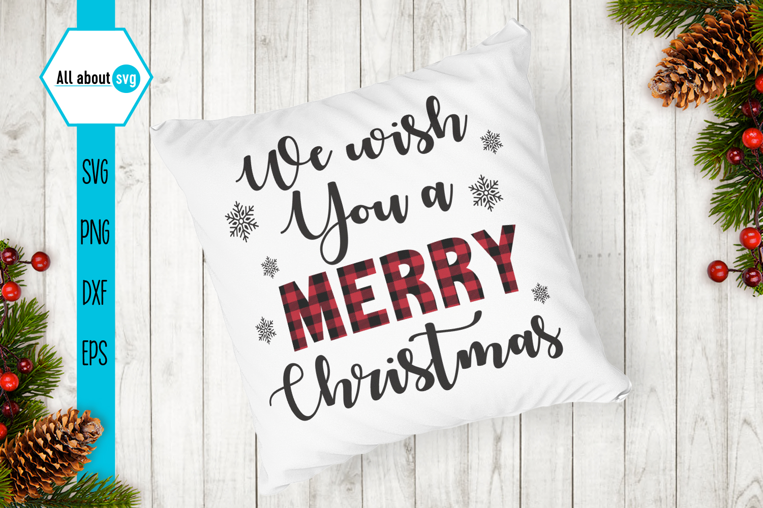 We Wish You A Merry Christmas Plaid Svg example image 4