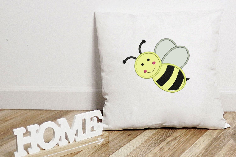 Bee Applique Design, Bee Embroidery, Handmade example image 1