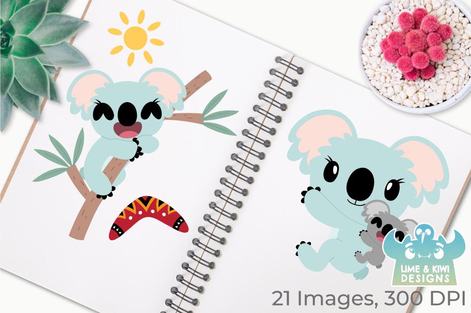 Koala Girls Clipart, Instant Download Vector Art example image 3