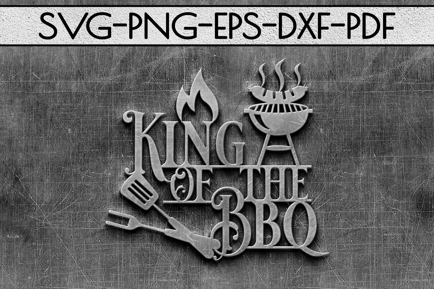King Of The Bbq Sign Papercut Template, Summer Decor SVG DXF example image 2