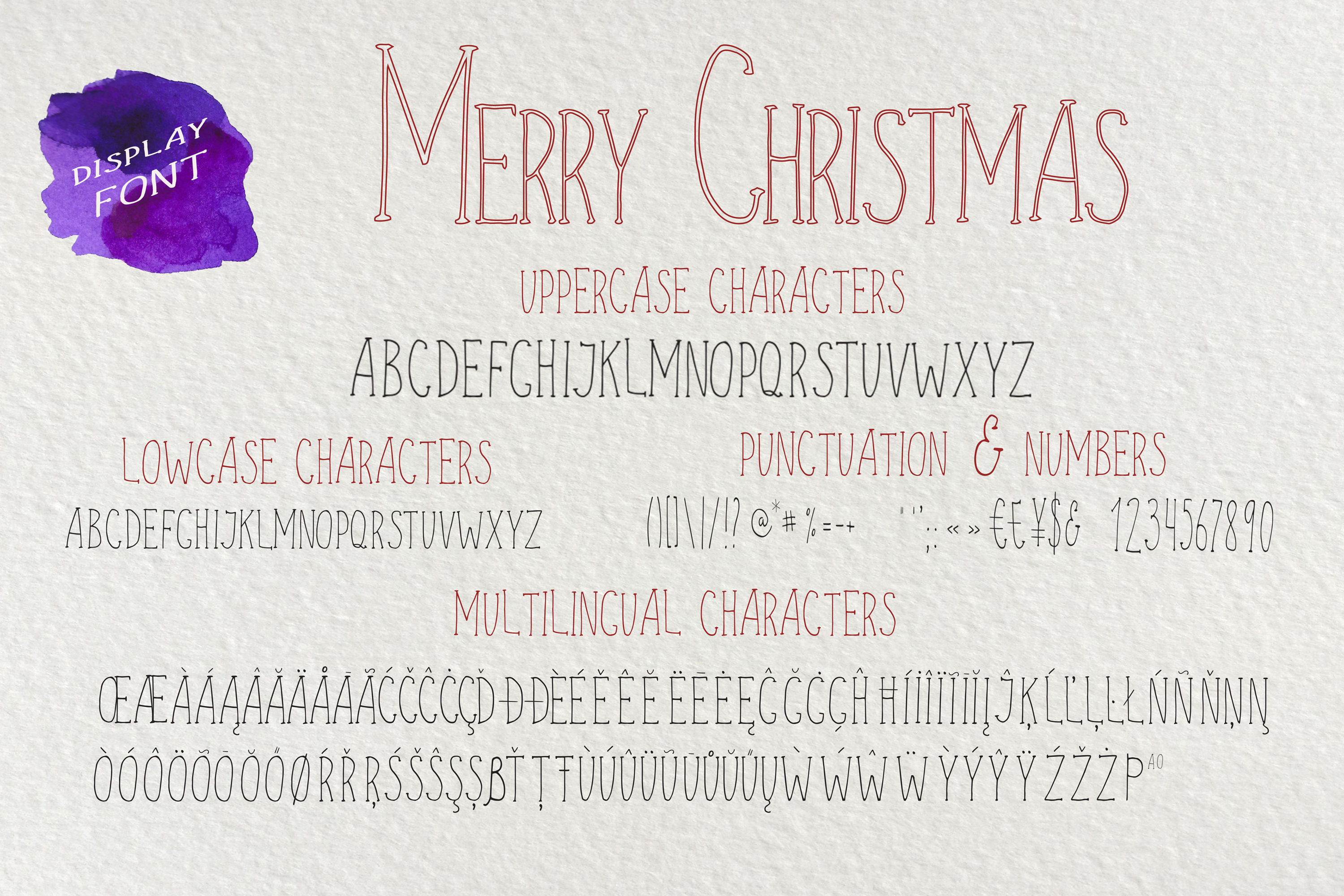 Merry Christmas display font and doodles example image 3