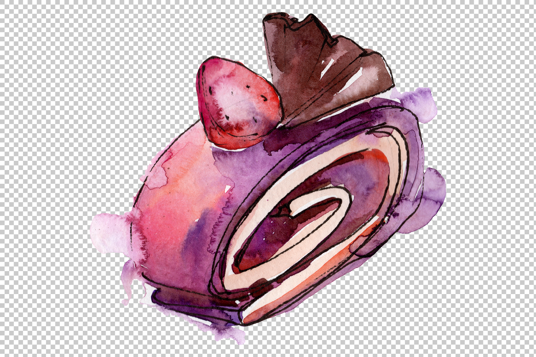 Sweet yummy cake Watercolor png example image 4