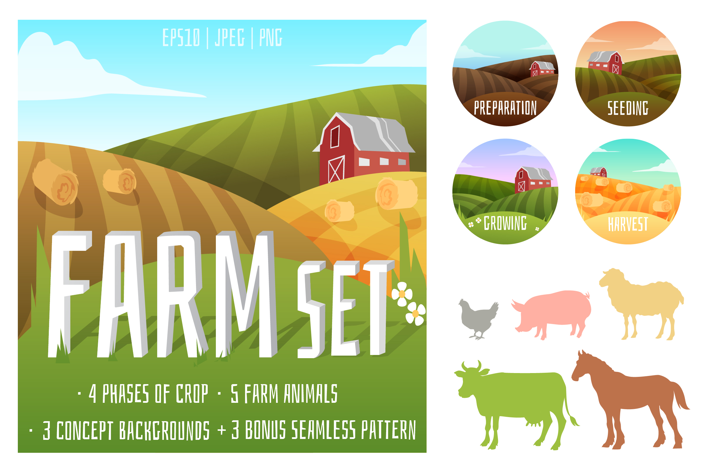Vector Farm set of animals and landscapes + bonus patterns example image 2