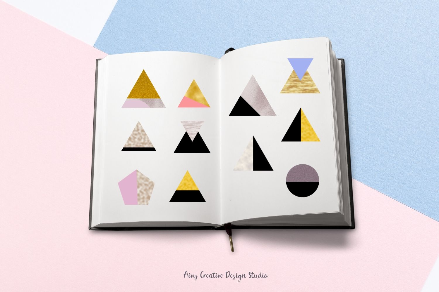 Colorful Geometric Element Mountain Abstract Clip Art Set example image 2