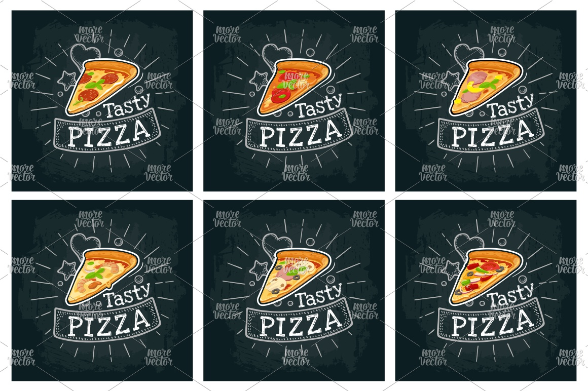 Set slice pizza. Vector color flat icon example image 1