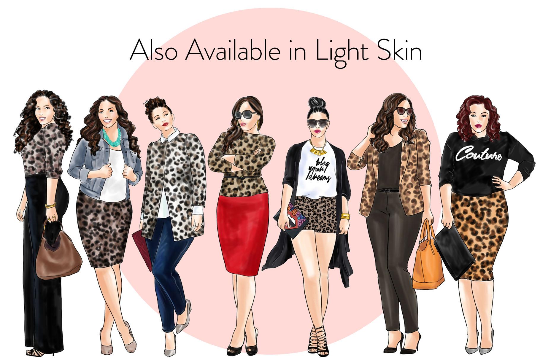 Fashion clipart - Curvy Girls in Animal Print - Dark Skin example image 4