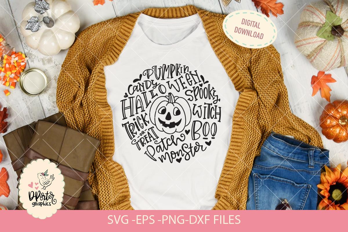 Halloween pumpkin typography svg, trick or treat svg example image 1