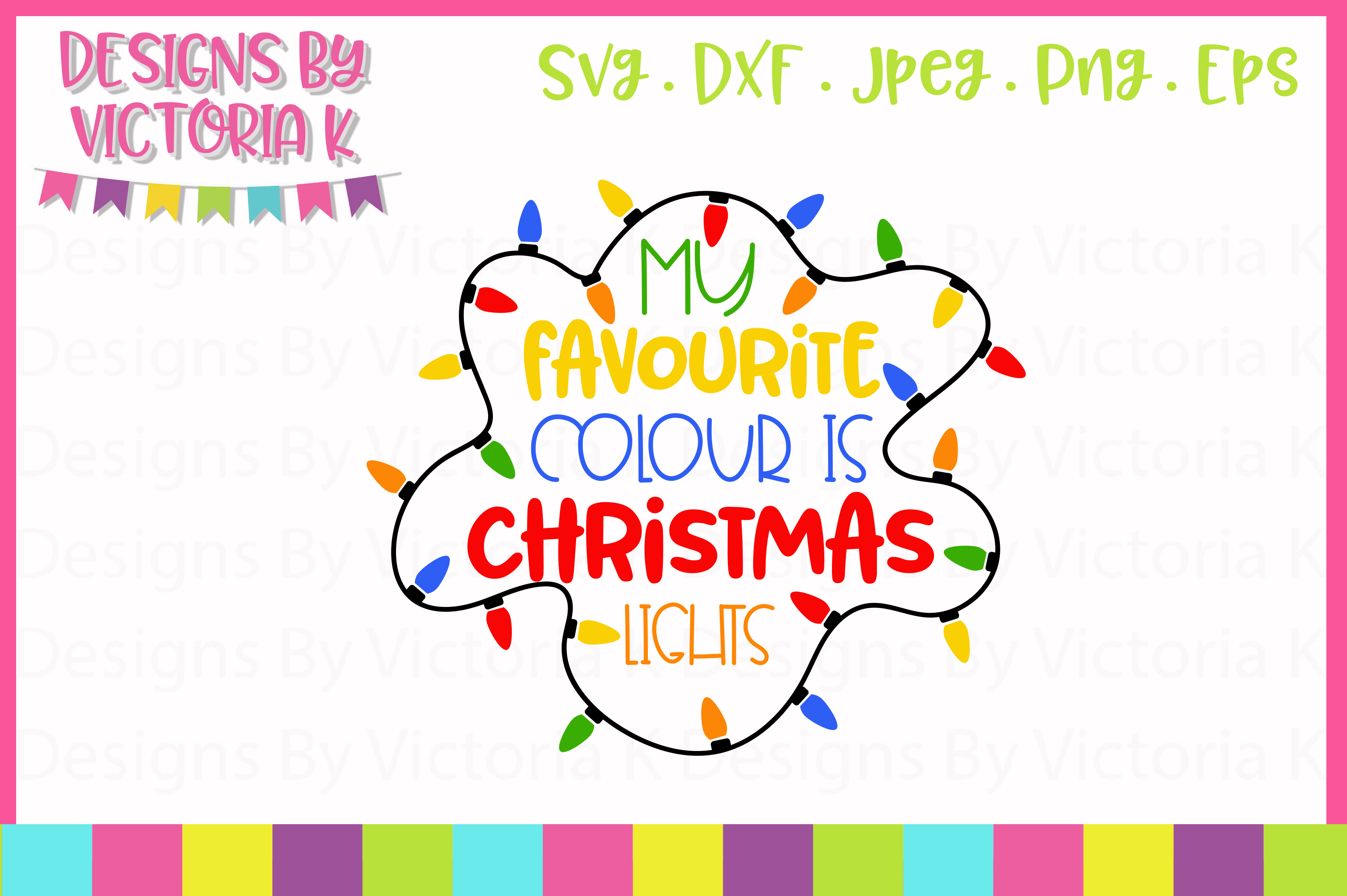 5 Christmas lights designs, SVG, DXF example image 2
