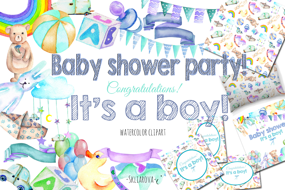 It's a Boy! watercolor clipart example image 1