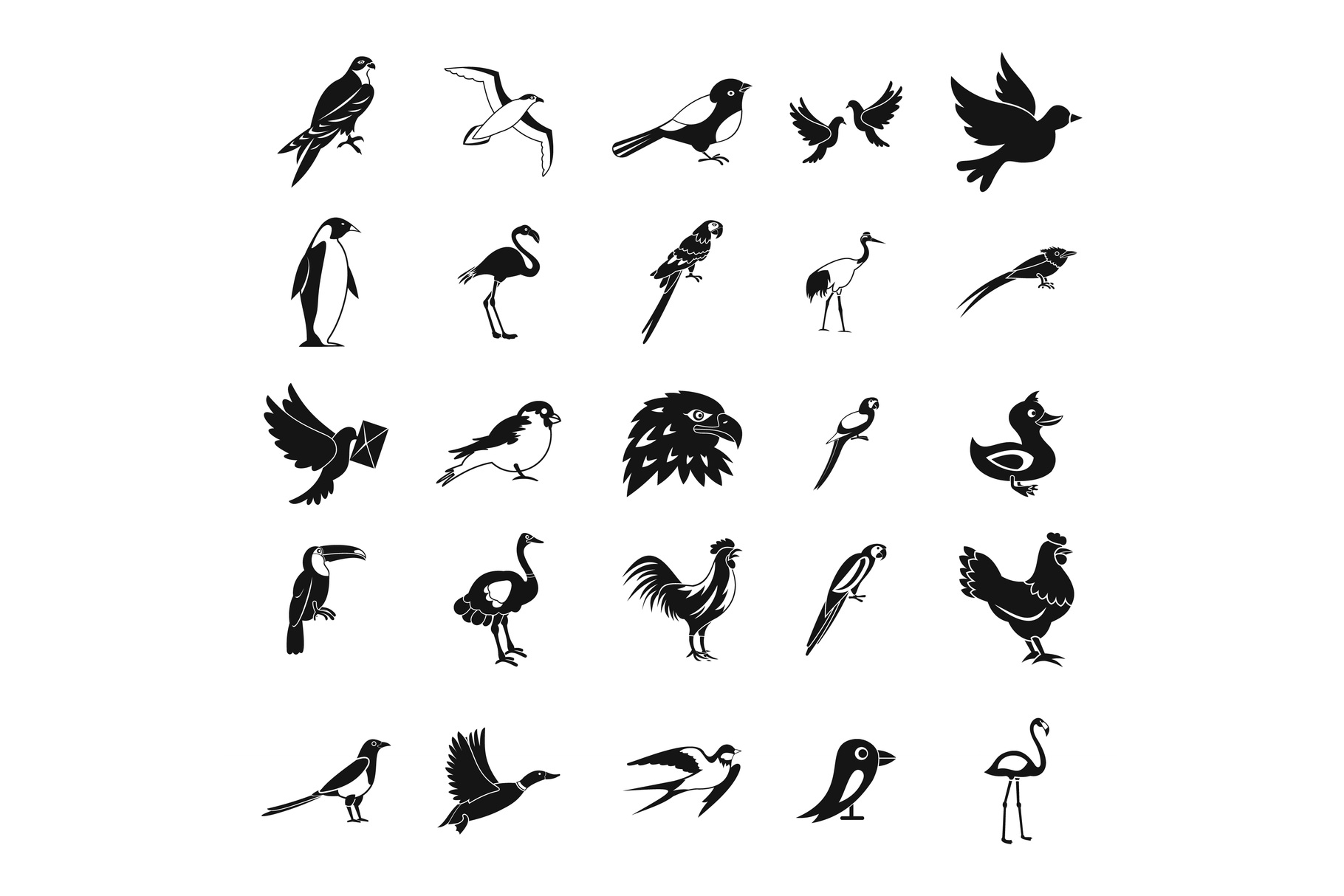 Birds icon set, simple style example image 1