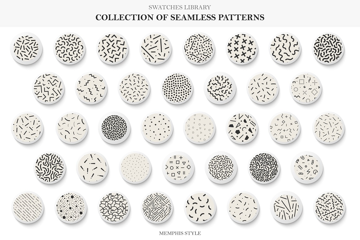Seamless memphis vector patterns - swatches library. example image 1