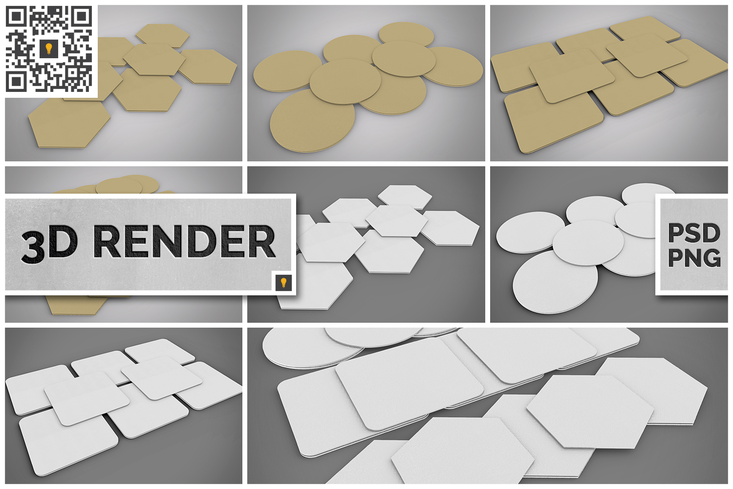 Paper Coaster 3D Render example image 1