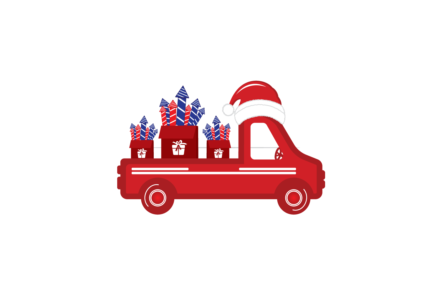 Old vintage red Christmas truck with fireworks and Santa hat example image 3