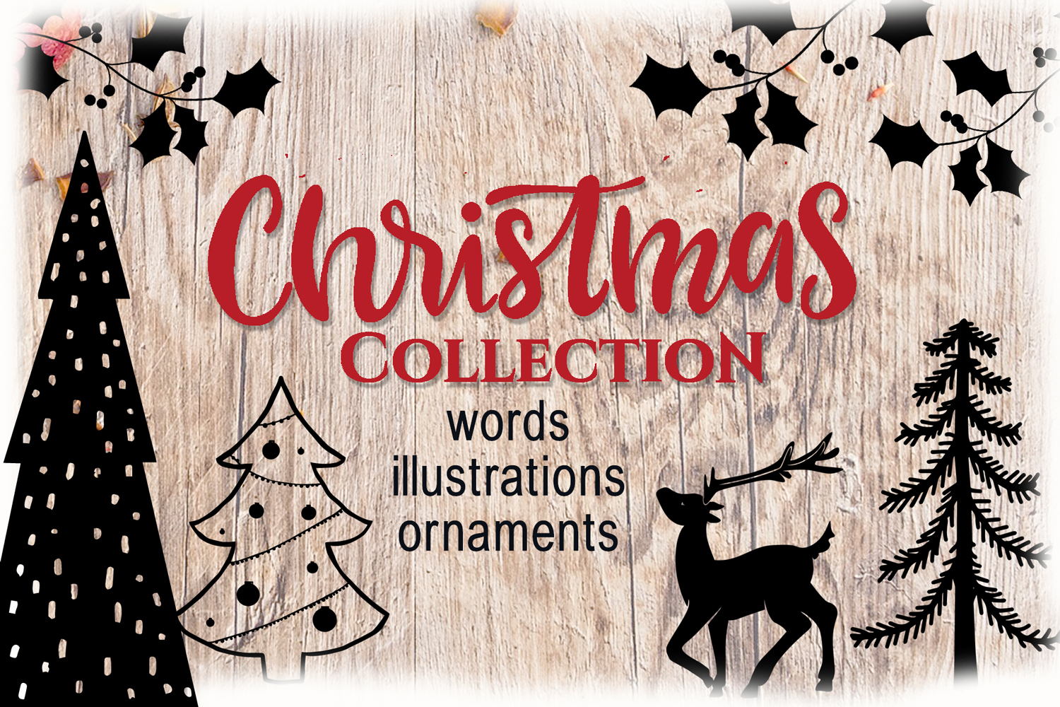 Christmas Collection - words, illustrations, ornaments example image 1