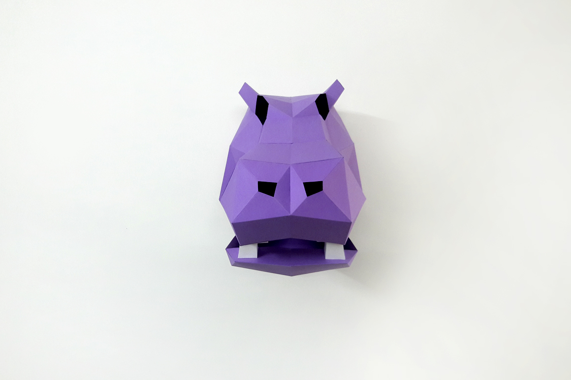 DIY Hippo Trophy - 3d papercraft example image 4