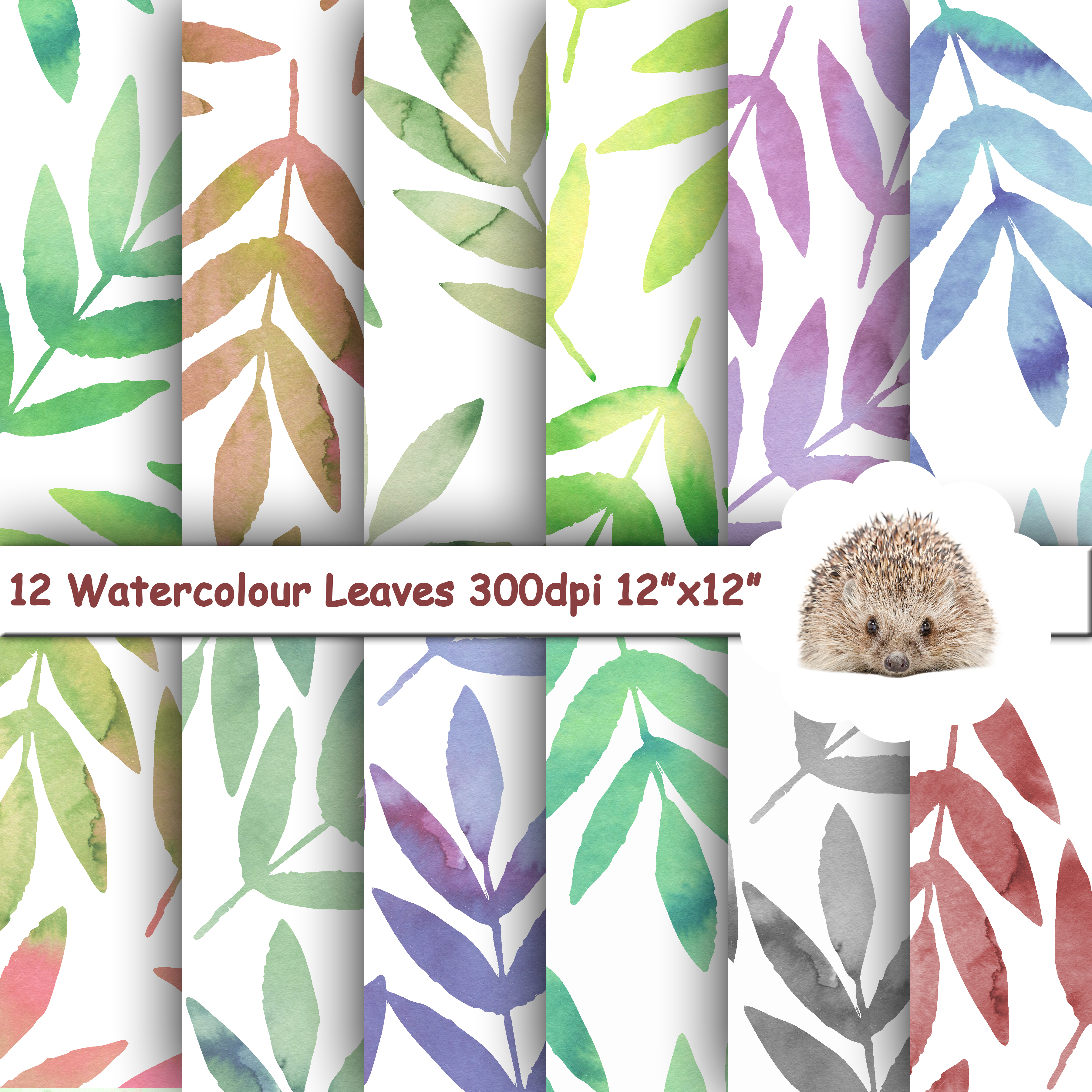 12 Watercolour Leafy Papers / Backgrounds / Patterns example image 1