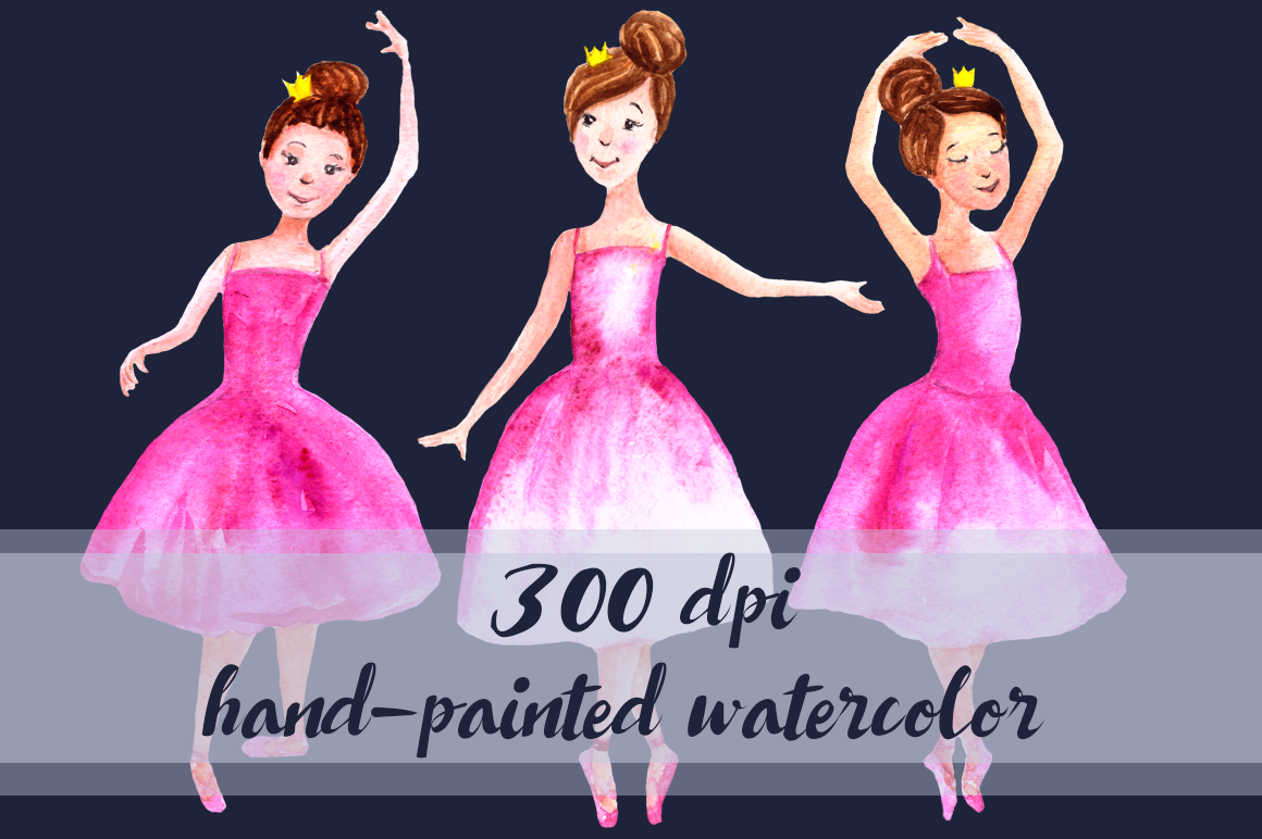 Watercolor Ballerinas Clip Art Set example image 2