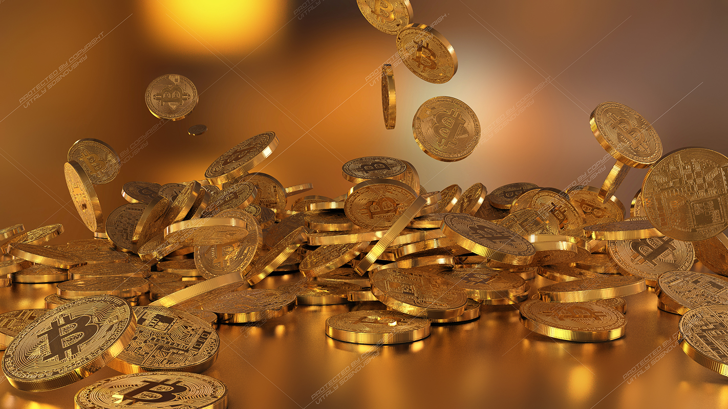 6  files - 3D rendering Bitcoins falling on a pile example image 3