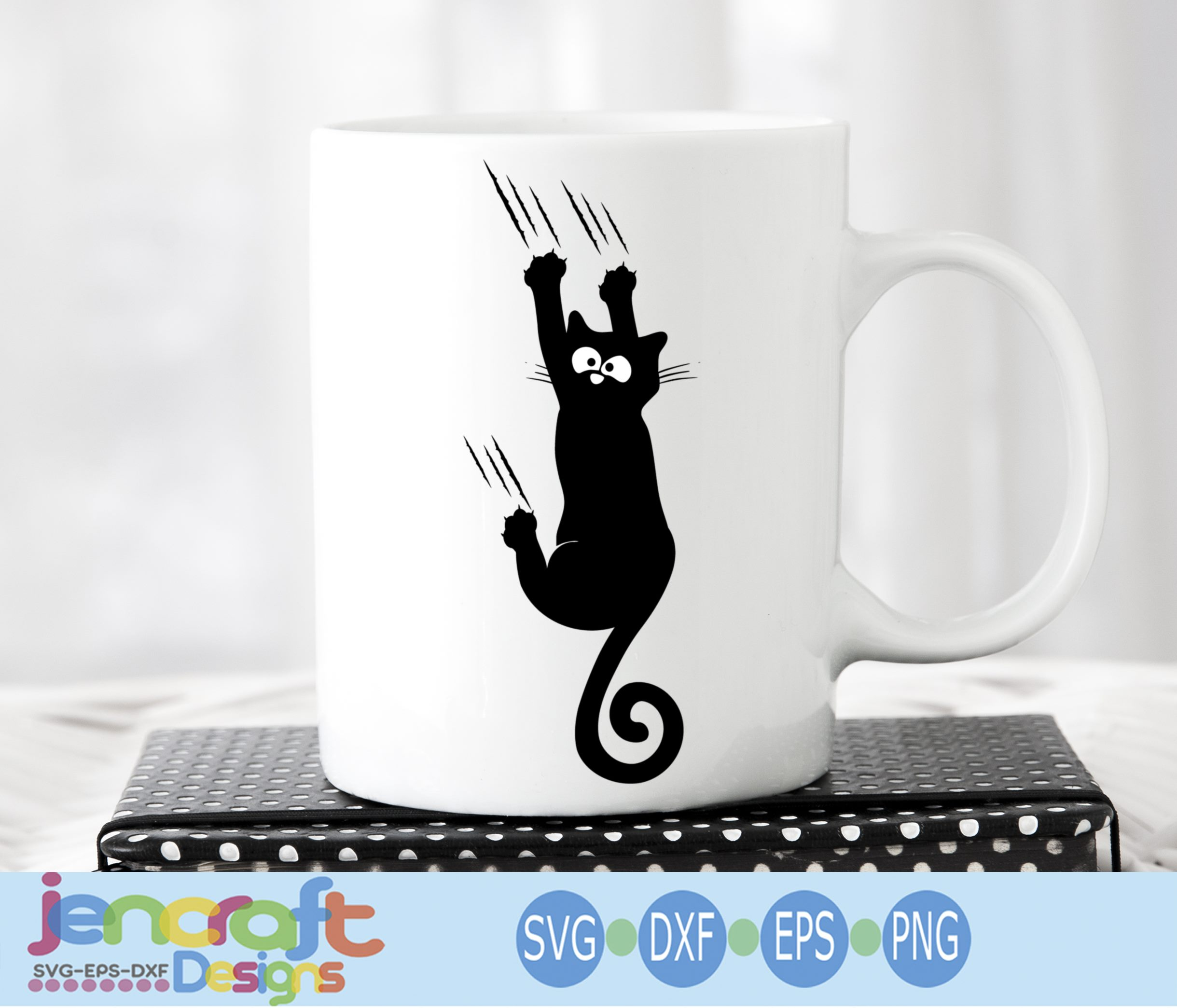 Falling Black Cat svg, Hanging cat svg Funny Kitty example image 2
