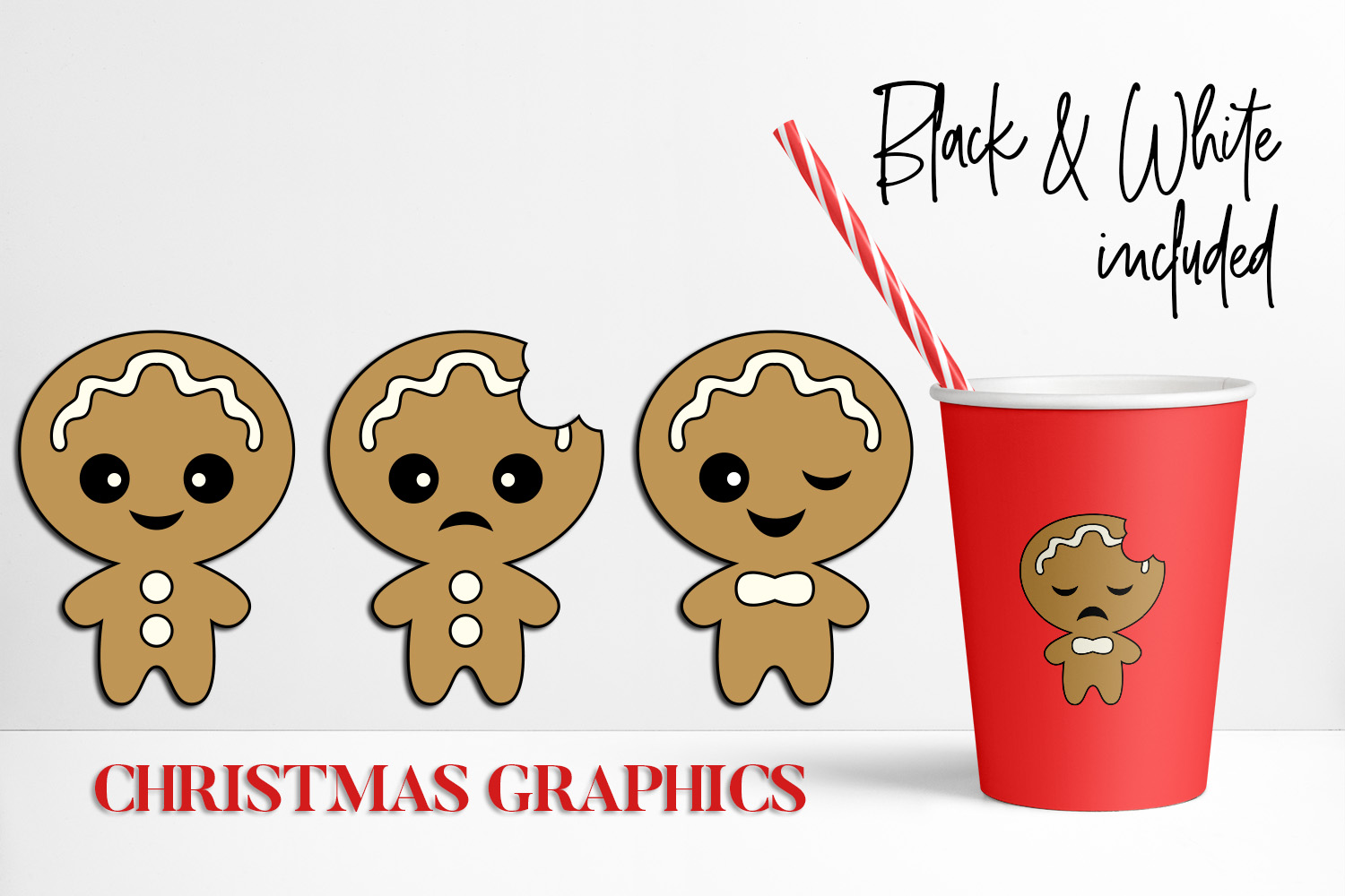 Bundle - Christmas ornaments and Gingerbread Graphics example image 2