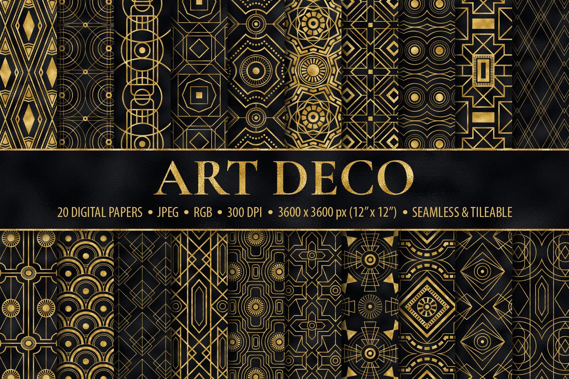 Seamless Art Deco Patterns Black And Gold Digital Papers