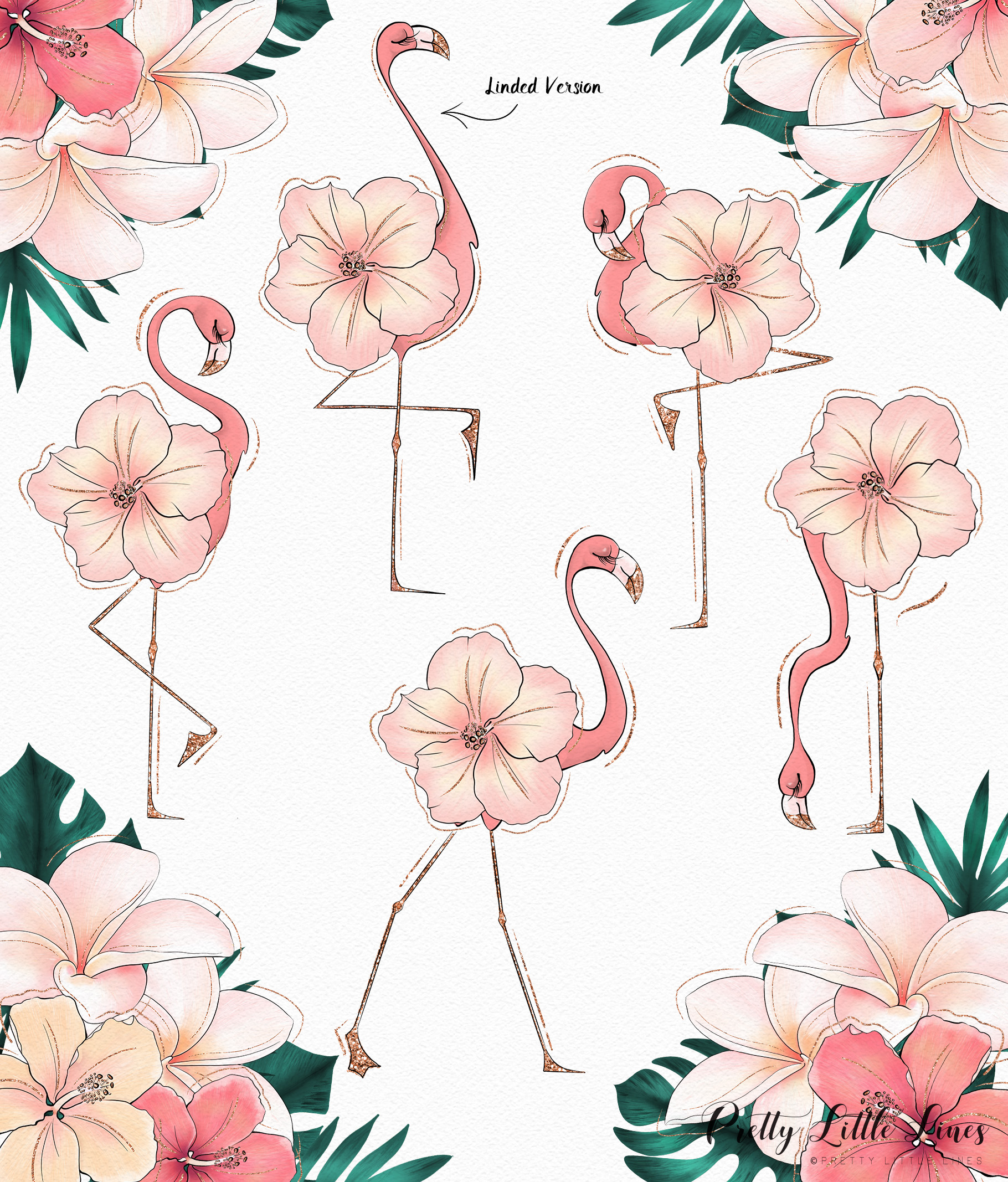 Tropical Flowers & Flamingos example image 4