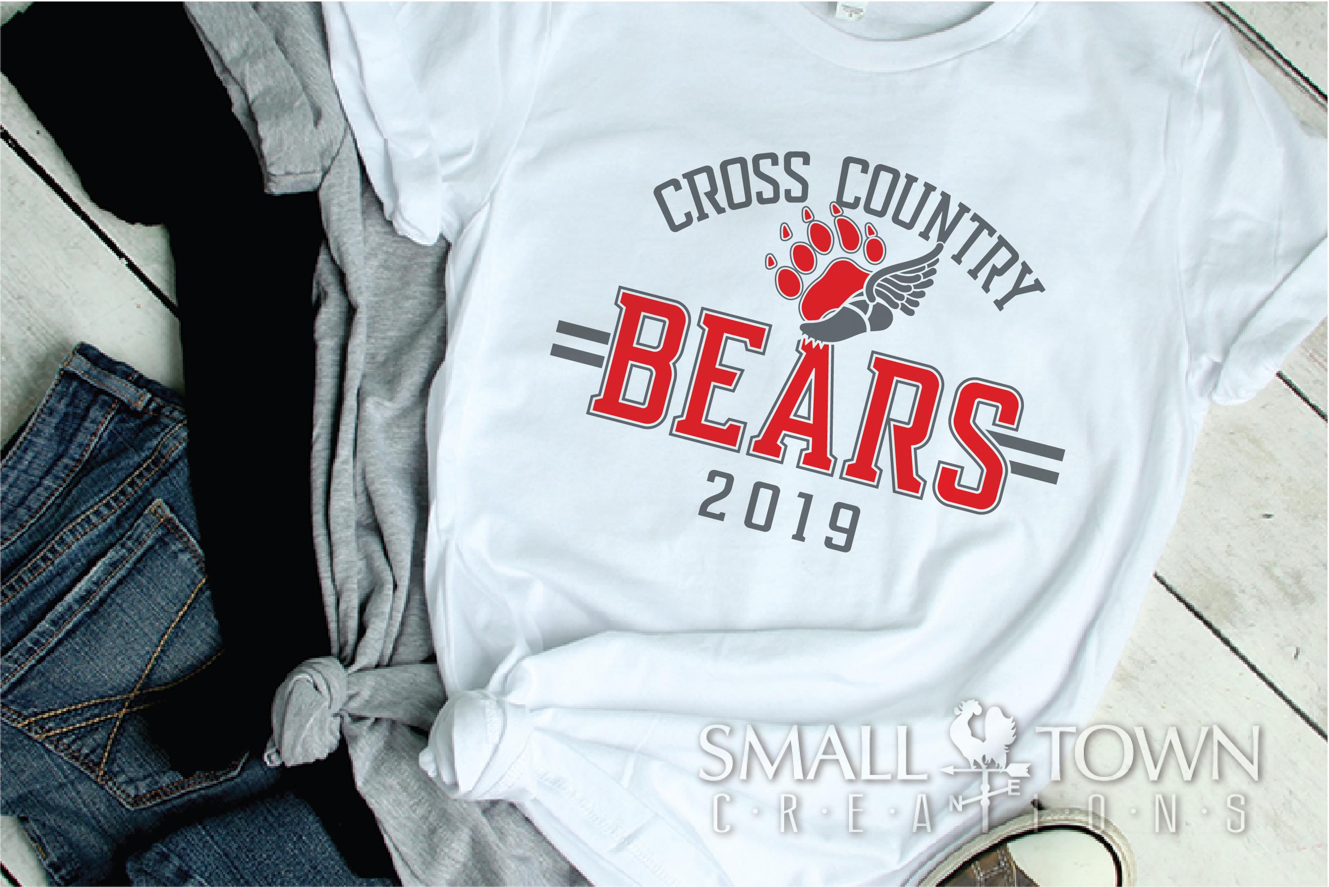 Bear Cross Country, Paw Print, Team, PRINT, CUT & DESIGN example image 2