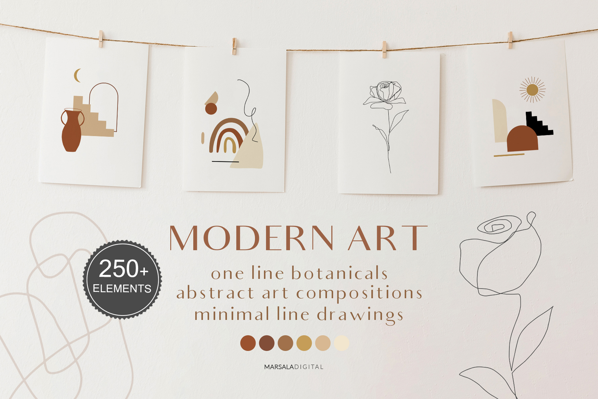 MODERN ART One Line and Abstract Graphics Prints example image 1
