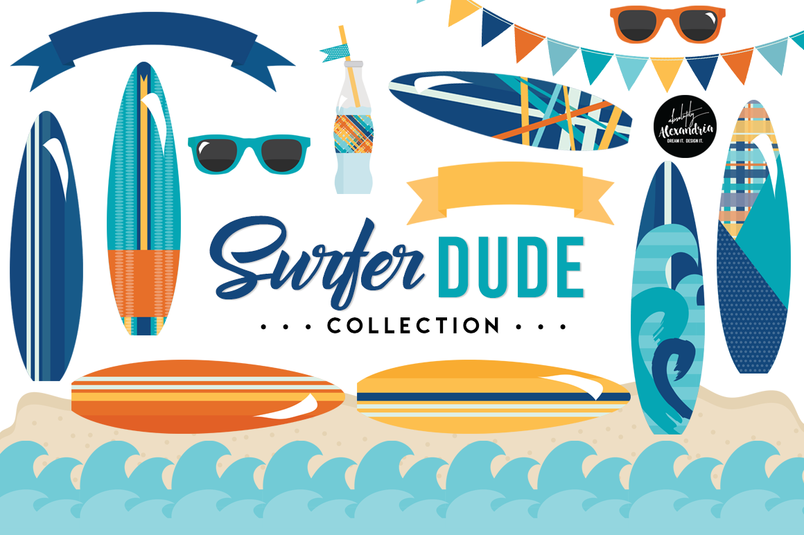 Surfer Dude Clipart Graphics & Digital Paper Patterns Bundle example image 1