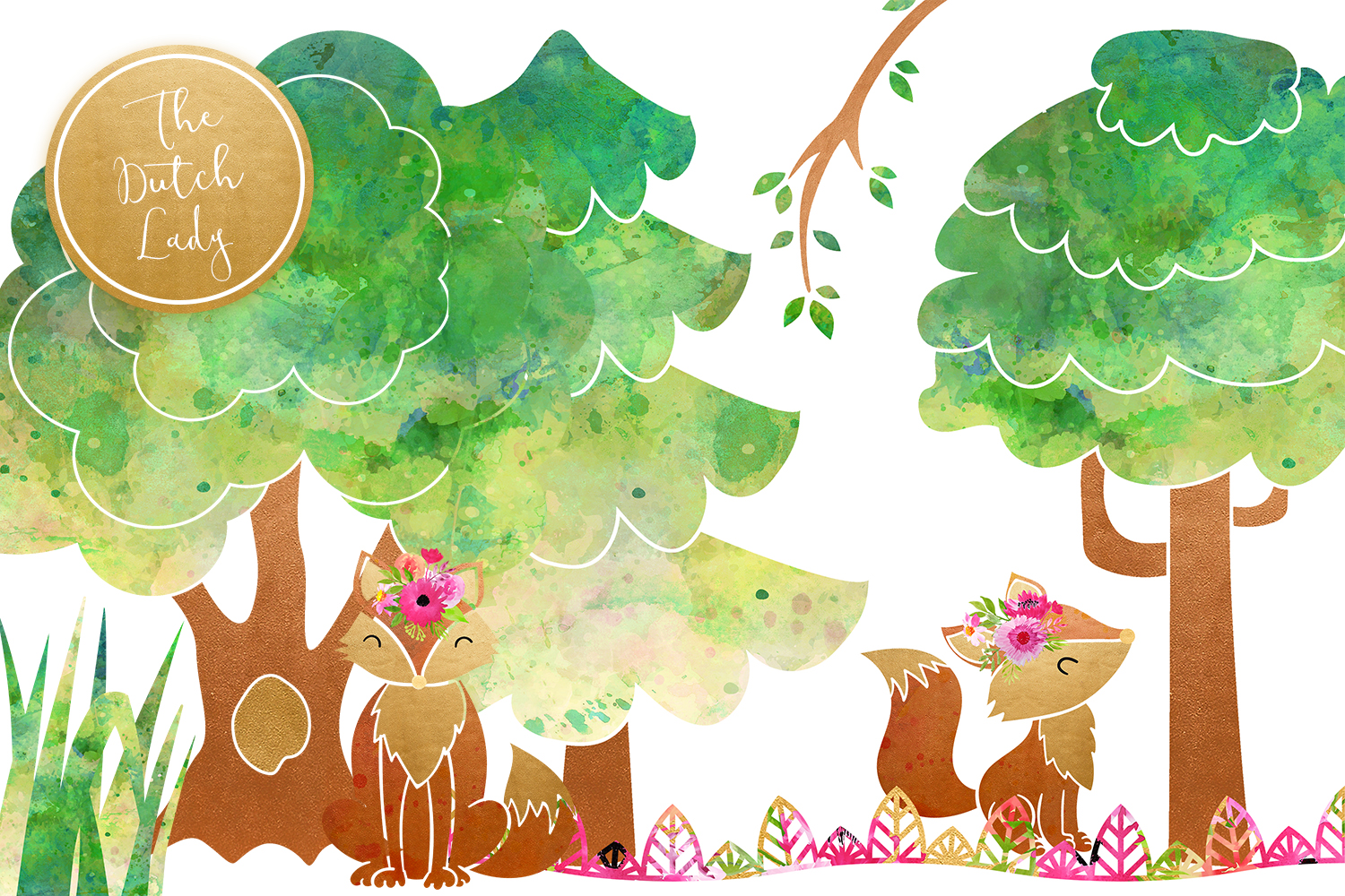Fox & Forest Clipart Set example image 4